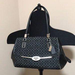 Authentic Coach bag with leather trim